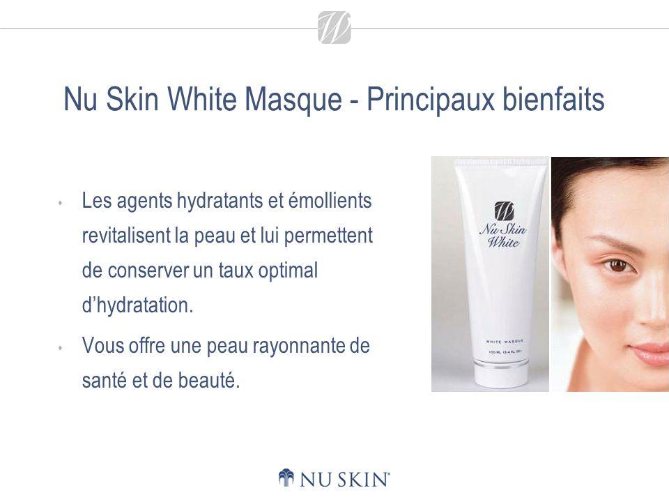 Nu Skin White Masque - Principaux bienfaits Les agents hydratants et émollients revitalisent la peau et lui permettent de conserver un taux optimal dhydratation.