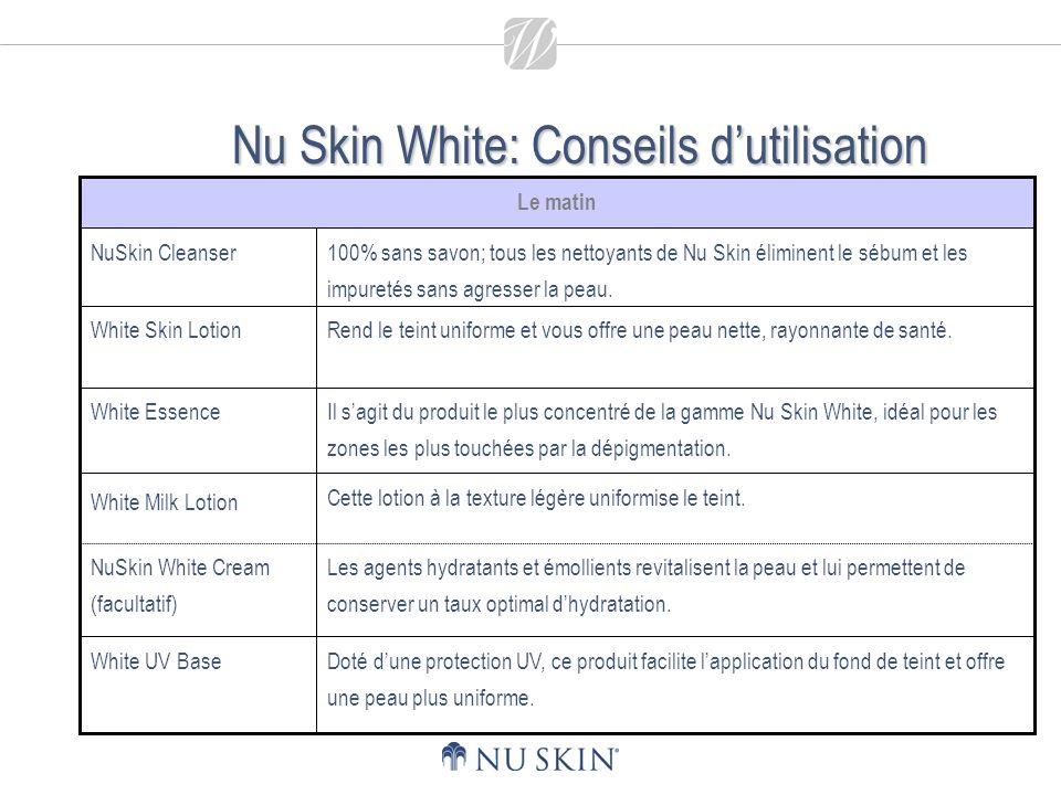 Nu Skin White: Conseils dutilisation Les agents hydratants et émollients revitalisent la peau et lui permettent de conserver un taux optimal dhydratation.