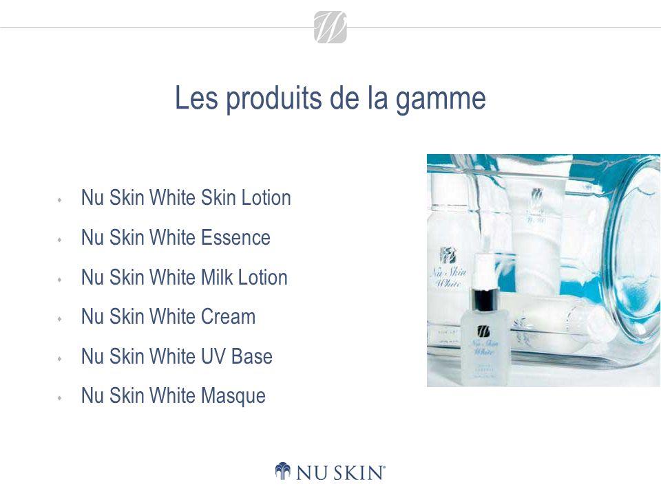 Les produits de la gamme Nu Skin White Skin Lotion Nu Skin White Essence Nu Skin White Milk Lotion Nu Skin White Cream Nu Skin White UV Base Nu Skin White Masque
