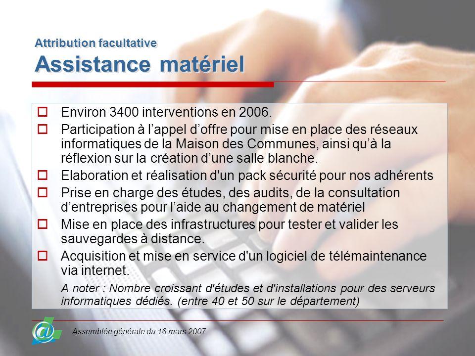 Assemblée générale du 16 mars 2007 Attribution facultative Assistance matériel Environ 3400 interventions en 2006. Participation à lappel doffre pour