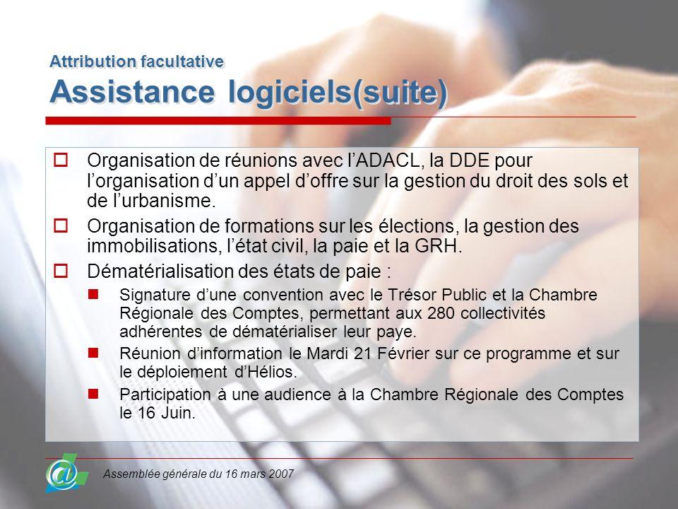 Assemblée générale du 16 mars 2007 Attribution facultative Assistance logiciels(suite) Organisation de réunions avec lADACL, la DDE pour lorganisation