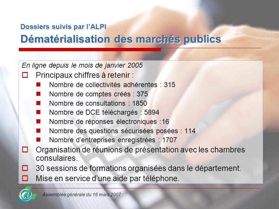Assemblée générale du 16 mars 2007 Dossiers suivis par lALPI Dématérialisation des marchés publics En ligne depuis le mois de janvier 2005 Principaux