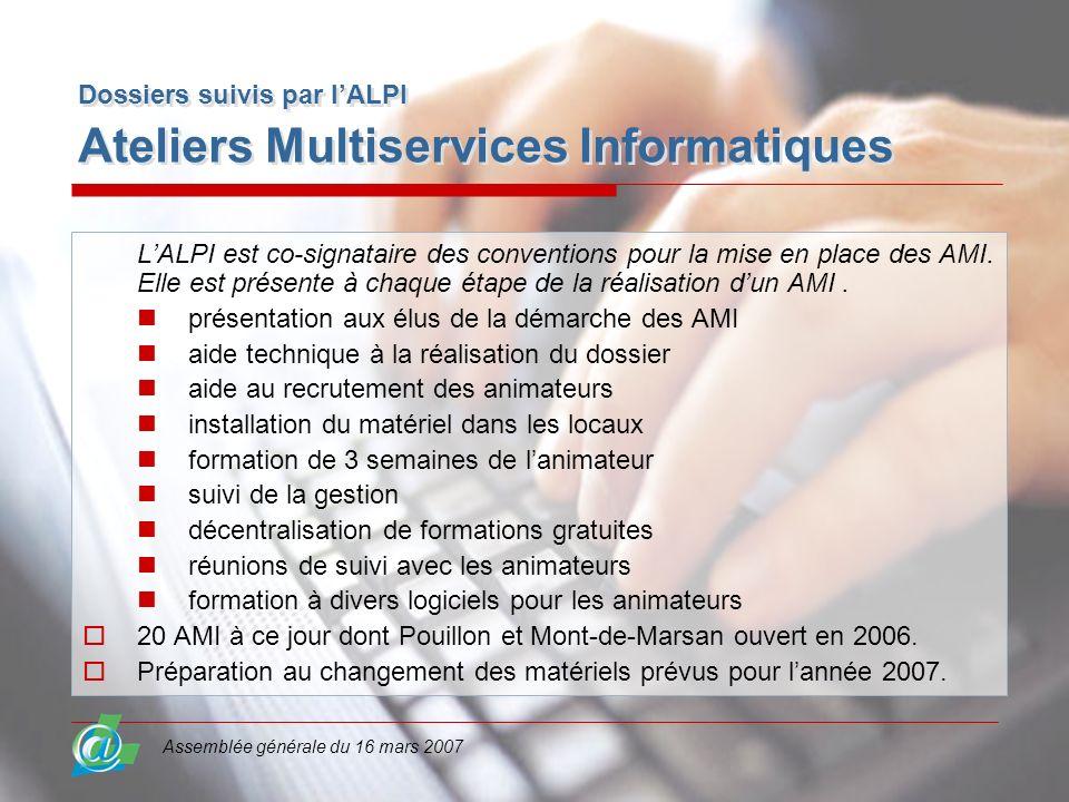 Assemblée générale du 16 mars 2007 Dossiers suivis par lALPI Ateliers Multiservices Informatiques LALPI est co-signataire des conventions pour la mise