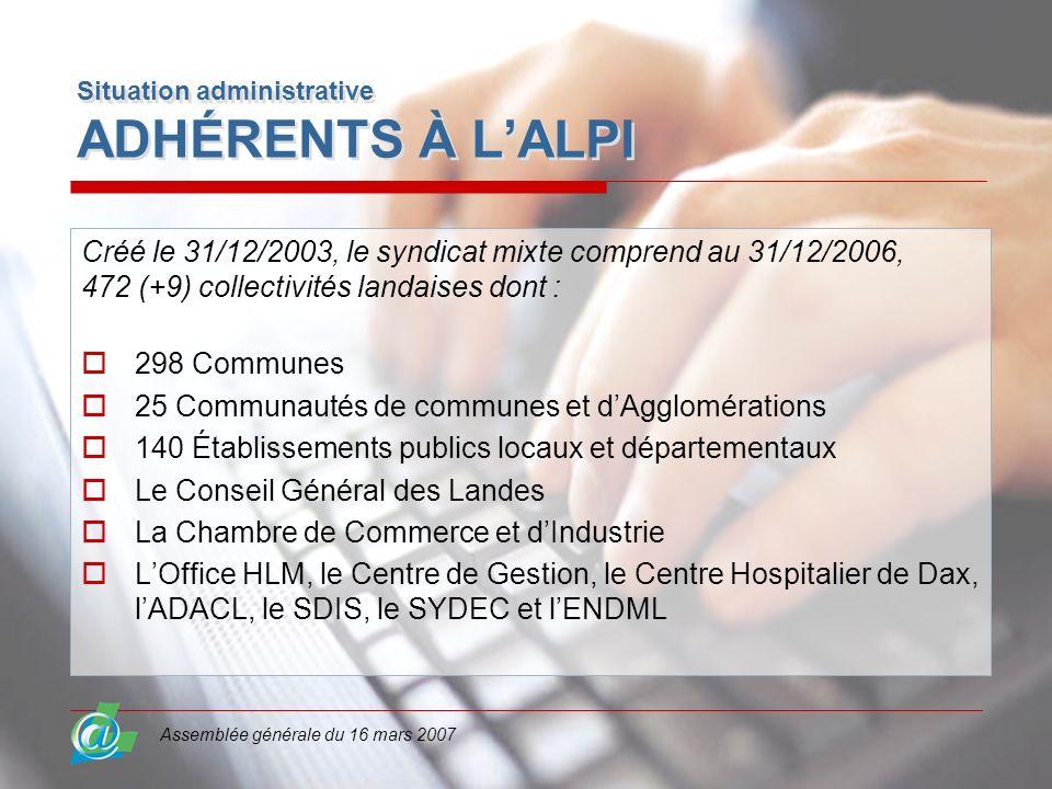 Assemblée générale du 16 mars 2007 Situation administrative ADHÉRENTS À LALPI Créé le 31/12/2003, le syndicat mixte comprend au 31/12/2006, 472 (+9) c