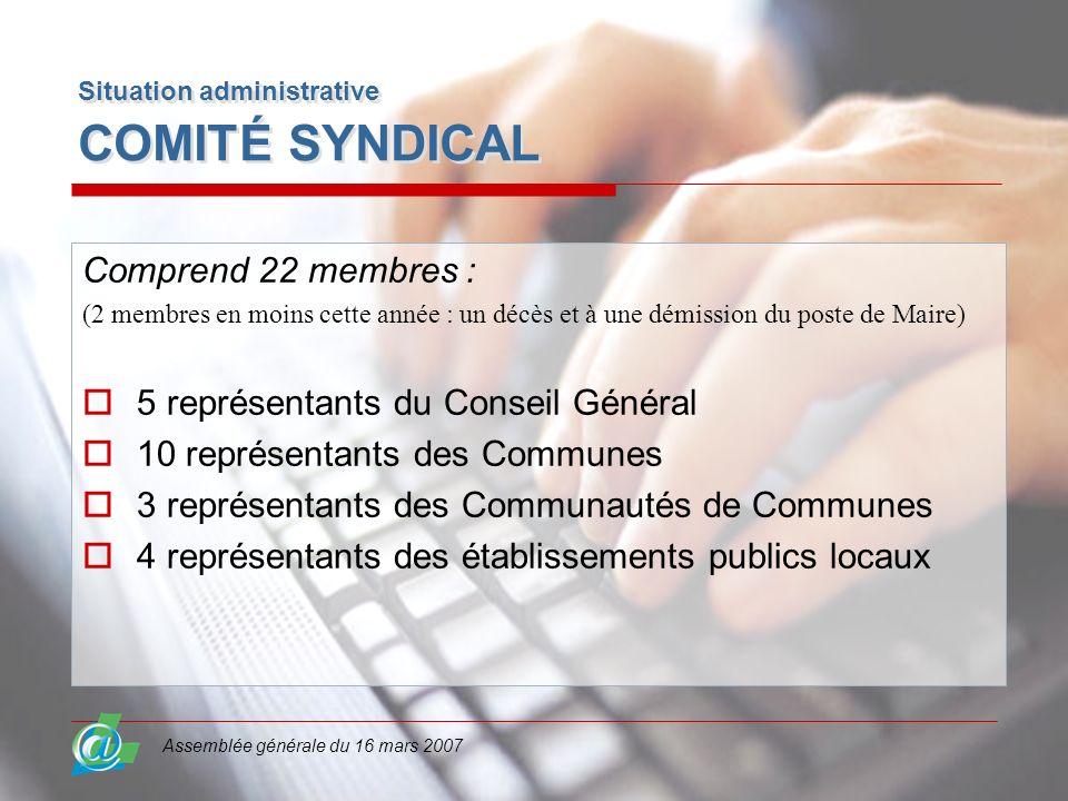 Assemblée générale du 16 mars 2007 Situation administrative COMITÉ SYNDICAL Comprend 22 membres : (2 membres en moins cette année : un décès et à une