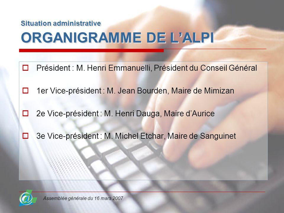Assemblée générale du 16 mars 2007 Situation administrative ORGANIGRAMME DE LALPI Président : M. Henri Emmanuelli, Président du Conseil Général 1er Vi