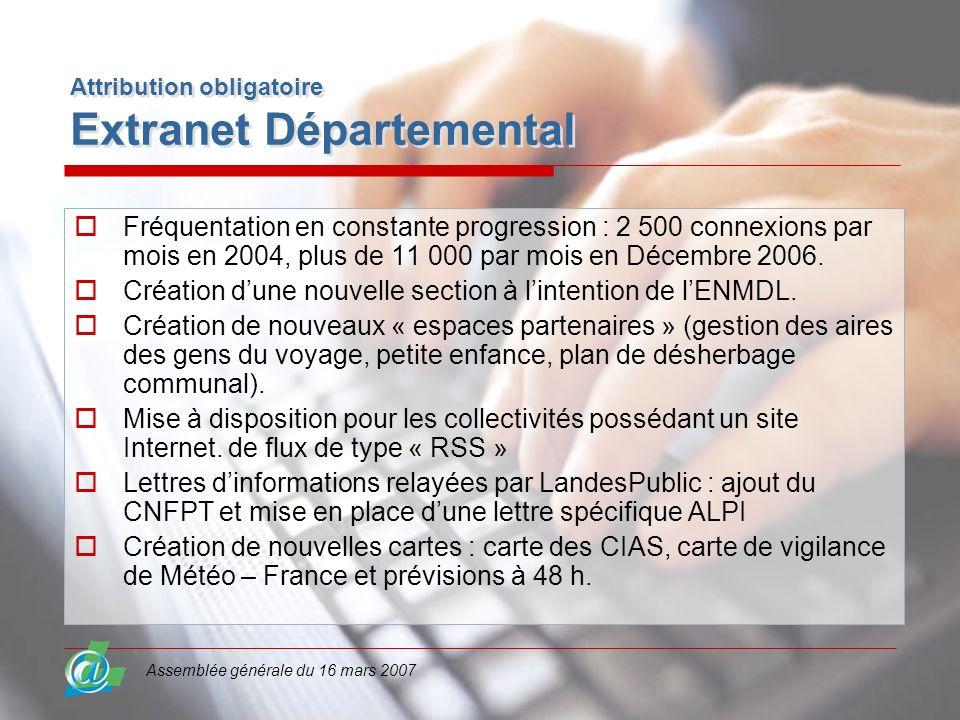 Assemblée générale du 16 mars 2007 Attribution obligatoire Extranet Départemental Fréquentation en constante progression : 2 500 connexions par mois e