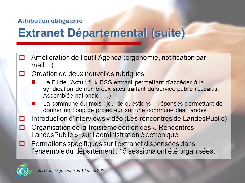 Assemblée générale du 16 mars 2007 Attribution obligatoire Extranet Départemental (suite) Amélioration de loutil Agenda (ergonomie, notification par m