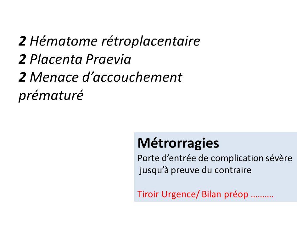 2 Hématome rétroplacentaire 2 Placenta Praevia 2 Menace daccouchement prématuré Métrorragies Porte dentrée de complication sévère jusquà preuve du con