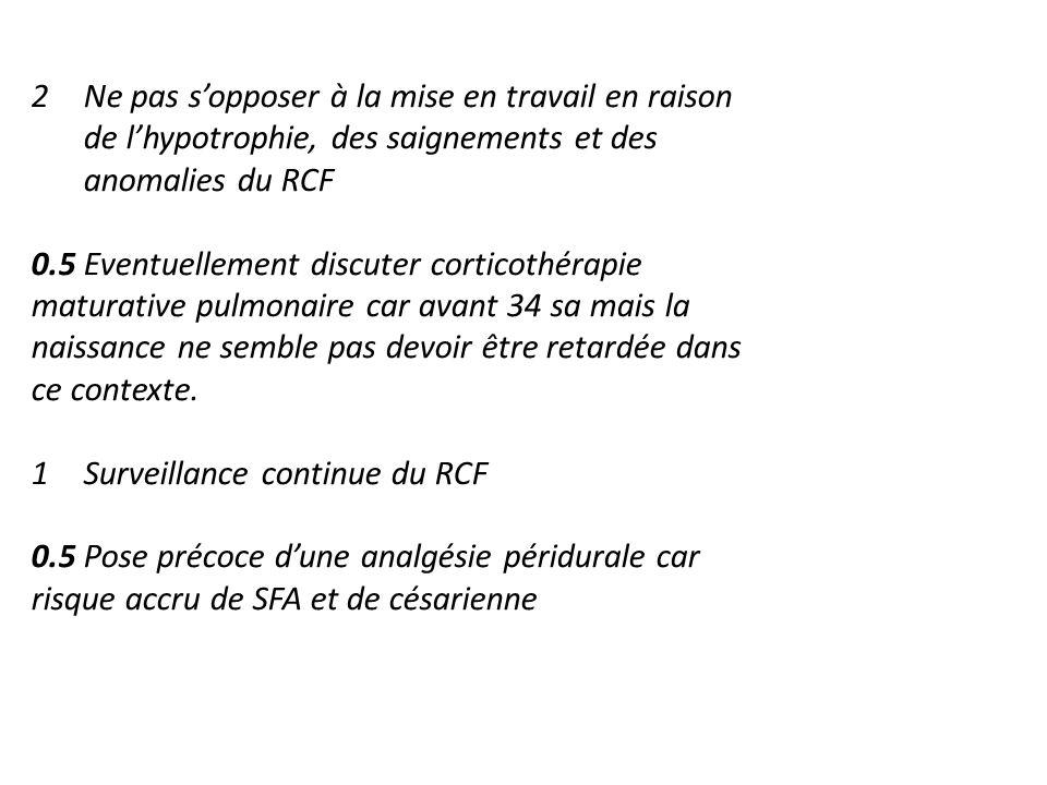 2Ne pas sopposer à la mise en travail en raison de lhypotrophie, des saignements et des anomalies du RCF 0.5 Eventuellement discuter corticothérapie m