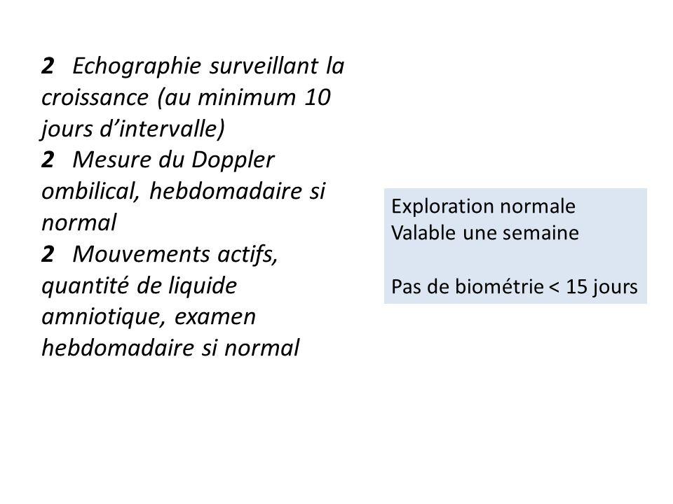 2 Echographie surveillant la croissance (au minimum 10 jours dintervalle) 2 Mesure du Doppler ombilical, hebdomadaire si normal 2 Mouvements actifs, q