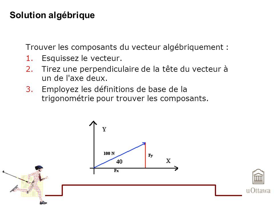 Solution algébrique Trouver les composants du vecteur algébriquement : 1.Esquissez le vecteur. 2.Tirez une perpendiculaire de la tête du vecteur à un