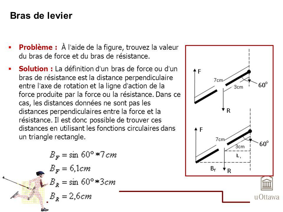 Bras de levier Problème : À laide de la figure, trouvez la valeur du bras de force et du bras de résistance. Solution : La définition dun bras de forc