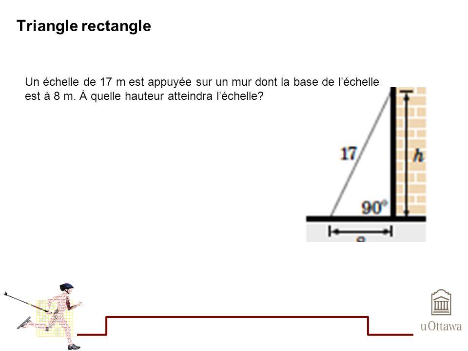Triangle rectangle Un échelle de 17 m est appuyée sur un mur dont la base de léchelle est à 8 m. À quelle hauteur atteindra léchelle?