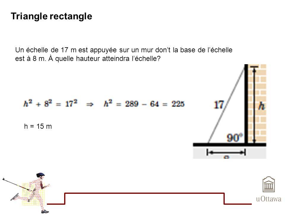 Triangle rectangle Un échelle de 17 m est appuyée sur un mur dont la base de léchelle est à 8 m. À quelle hauteur atteindra léchelle? h = 15 m