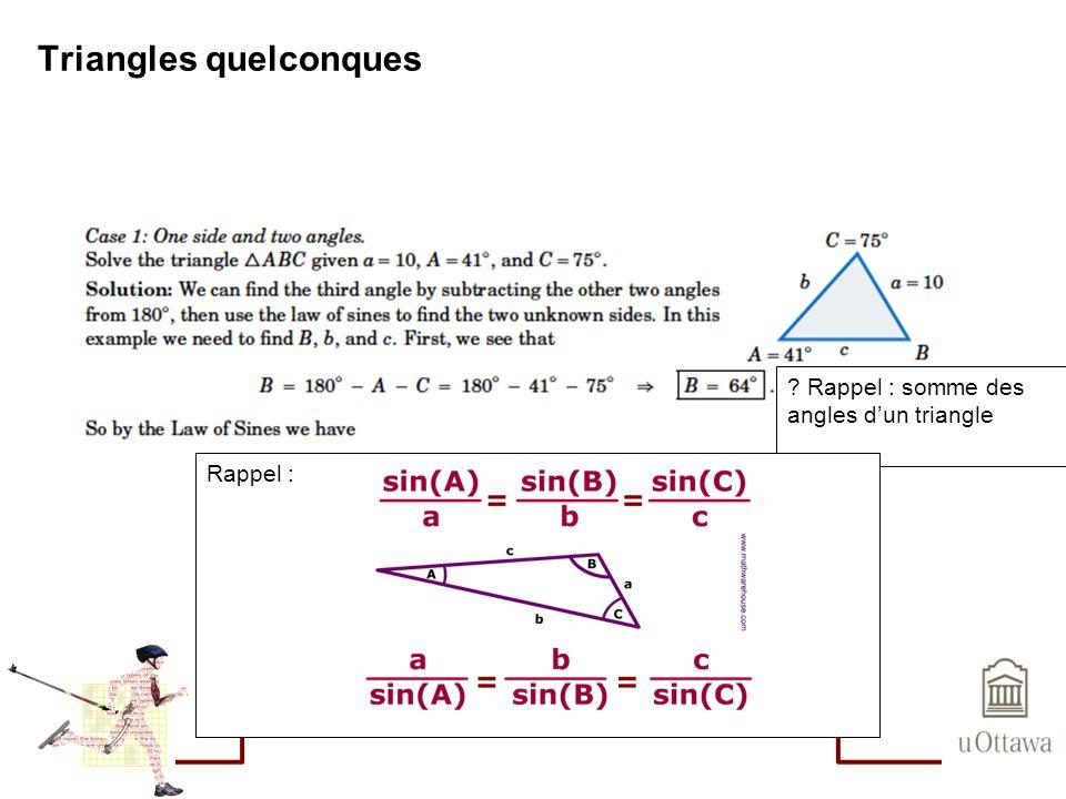 Triangles quelconques Loi du Cosinus