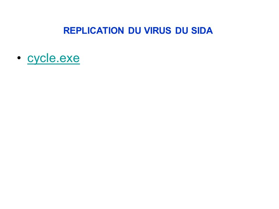 cycle.exe REPLICATION DU VIRUS DU SIDA