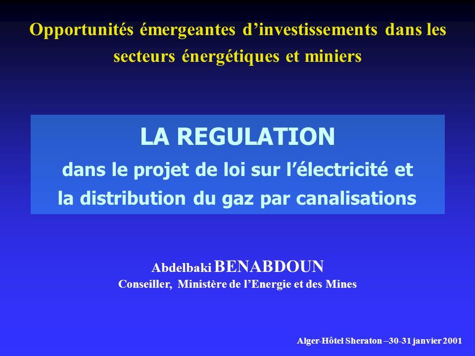 LA REGULATION dans le projet de loi sur lélectricité et la distribution du gaz par canalisations Opportunités émergeantes dinvestissements dans les secteurs énergétiques et miniers Alger-Hôtel Sheraton –30-31 janvier 2001 Abdelbaki BENABDOUN Conseiller, Ministère de lEnergie et des Mines