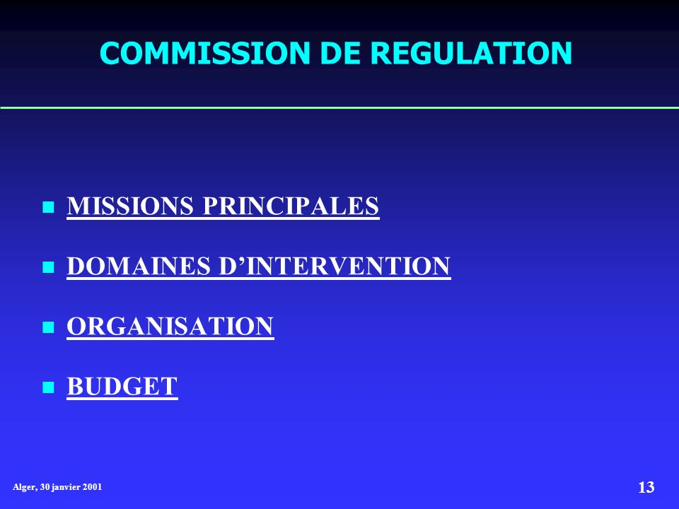 Alger, 30 janvier 2001 13 COMMISSION DE REGULATION MISSIONS PRINCIPALES MISSIONS PRINCIPALES DOMAINES DINTERVENTION DOMAINES DINTERVENTION ORGANISATIO