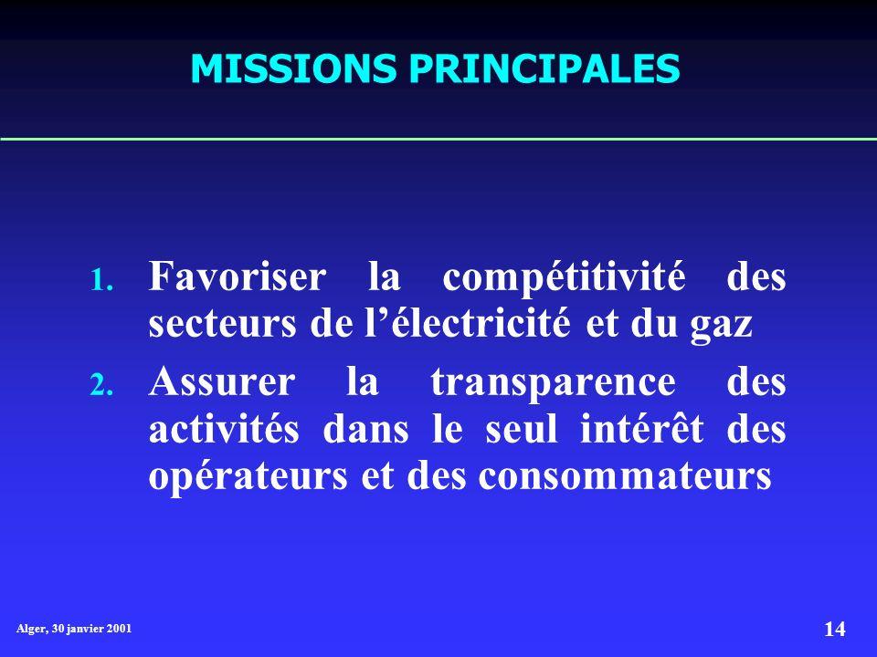 Alger, 30 janvier 2001 14 MISSIONS PRINCIPALES 1.