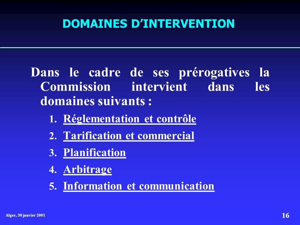Alger, 30 janvier 2001 16 DOMAINES DINTERVENTION Dans le cadre de ses prérogatives la Commission intervient dans les domaines suivants : 1.