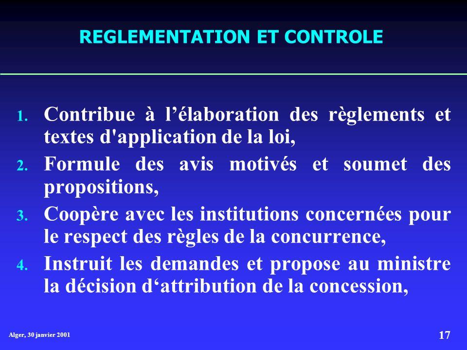 Alger, 30 janvier 2001 17 REGLEMENTATION ET CONTROLE 1.