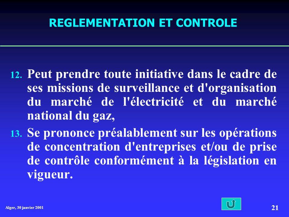 Alger, 30 janvier 2001 21 REGLEMENTATION ET CONTROLE 12.