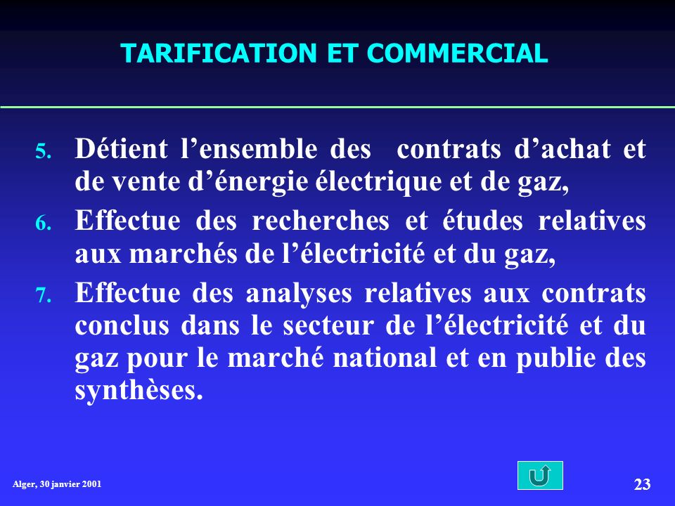 Alger, 30 janvier 2001 23 TARIFICATION ET COMMERCIAL 5.