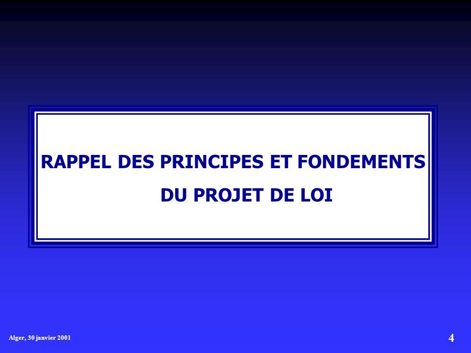4 Alger, 30 janvier 2001 RAPPEL DES PRINCIPES ET FONDEMENTS DU PROJET DE LOI