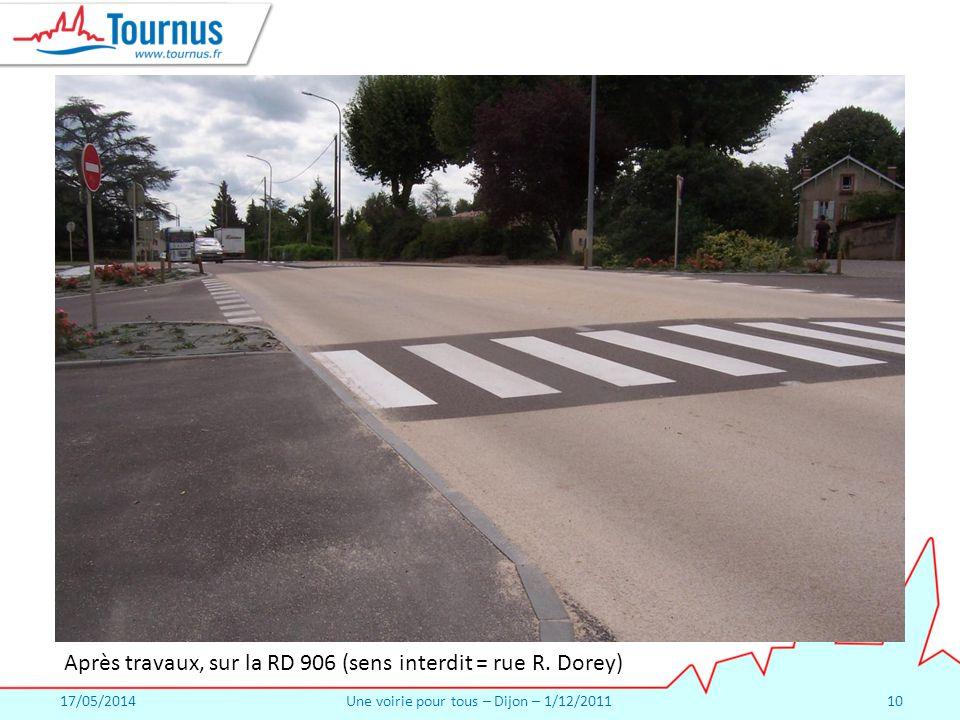 17/05/2014Une voirie pour tous – Dijon – 1/12/201110 Après travaux, sur la RD 906 (sens interdit = rue R.
