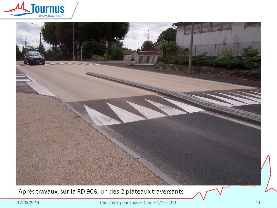 17/05/2014Une voirie pour tous – Dijon – 1/12/201111 Après travaux, sur la RD 906, un des 2 plateaux traversants