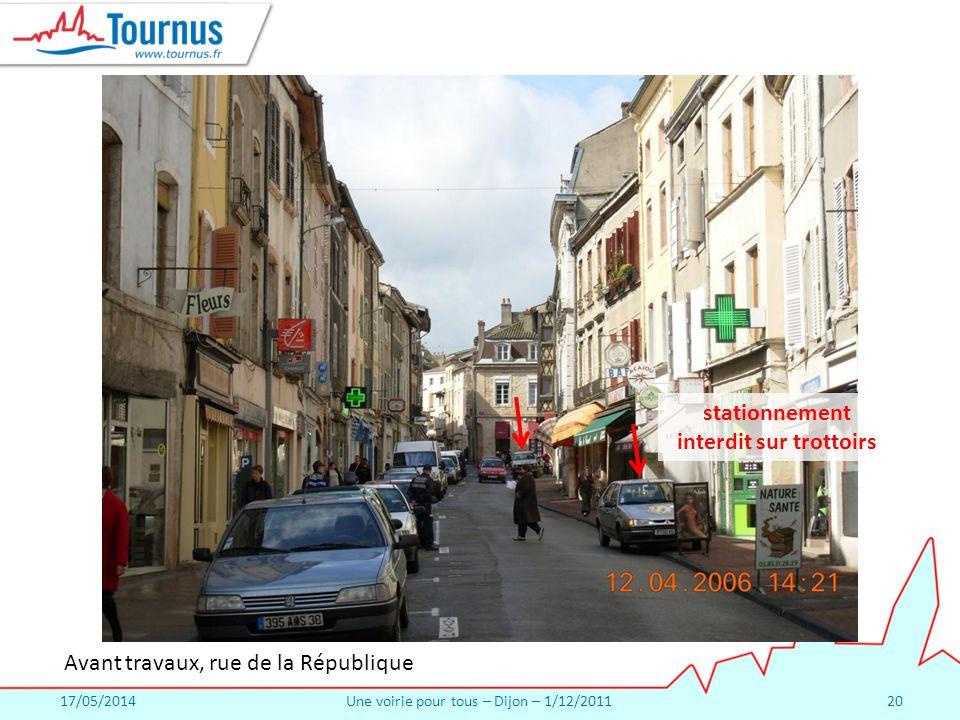 17/05/2014Une voirie pour tous – Dijon – 1/12/201120 Avant travaux, rue de la République stationnement interdit sur trottoirs