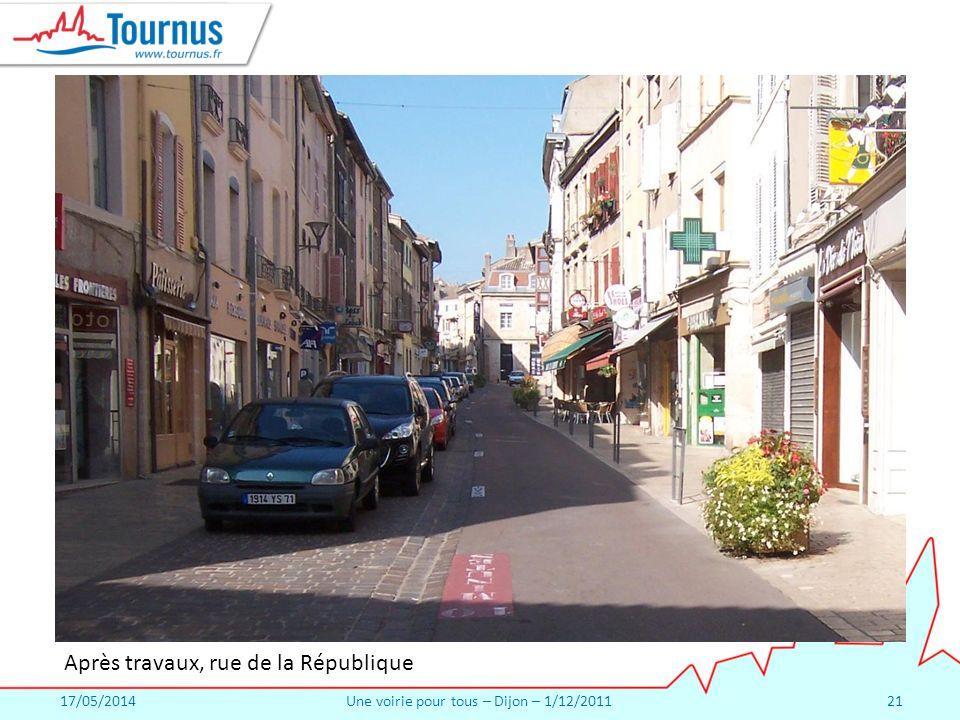 17/05/2014Une voirie pour tous – Dijon – 1/12/201121 Après travaux, rue de la République
