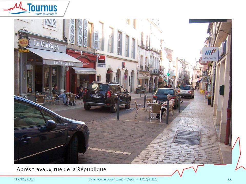 17/05/2014Une voirie pour tous – Dijon – 1/12/201122 Après travaux, rue de la République