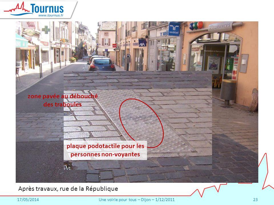 17/05/2014Une voirie pour tous – Dijon – 1/12/201123 Après travaux, rue de la République zone pavée au débouché des traboules plaque podotactile pour les personnes non-voyantes