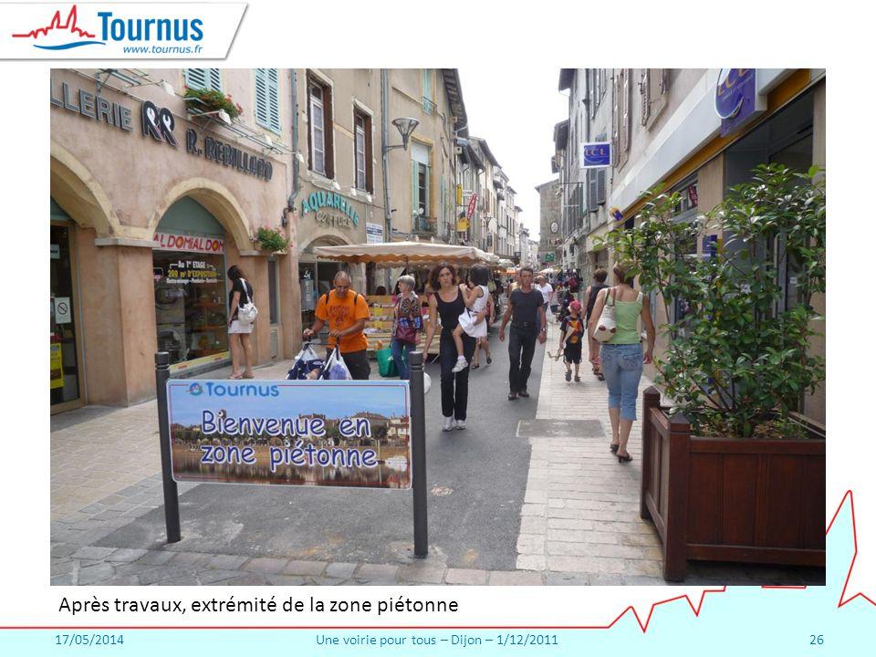 17/05/2014Une voirie pour tous – Dijon – 1/12/201126 Après travaux, extrémité de la zone piétonne