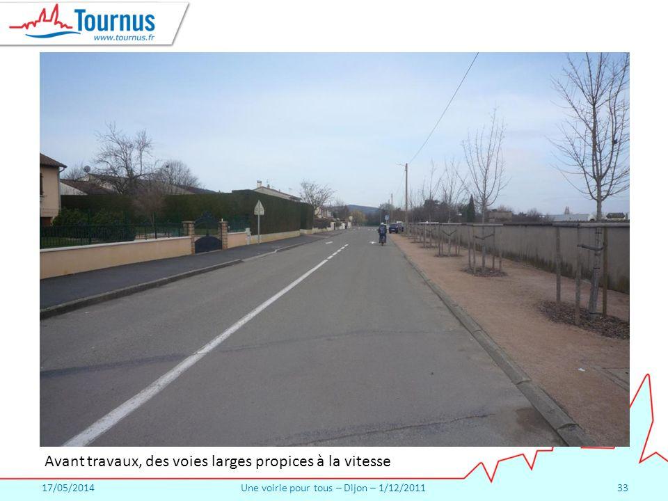 17/05/2014Une voirie pour tous – Dijon – 1/12/201133 Avant travaux, des voies larges propices à la vitesse