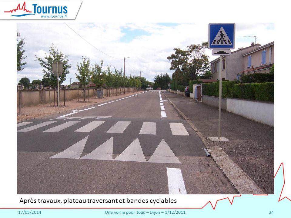 17/05/2014Une voirie pour tous – Dijon – 1/12/201134 Après travaux, plateau traversant et bandes cyclables