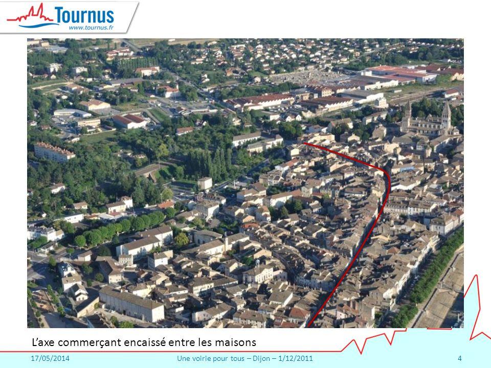 17/05/2014Une voirie pour tous – Dijon – 1/12/20114 Laxe commerçant encaissé entre les maisons