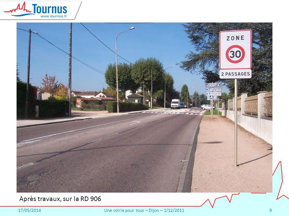 17/05/2014Une voirie pour tous – Dijon – 1/12/20119 Après travaux, sur la RD 906