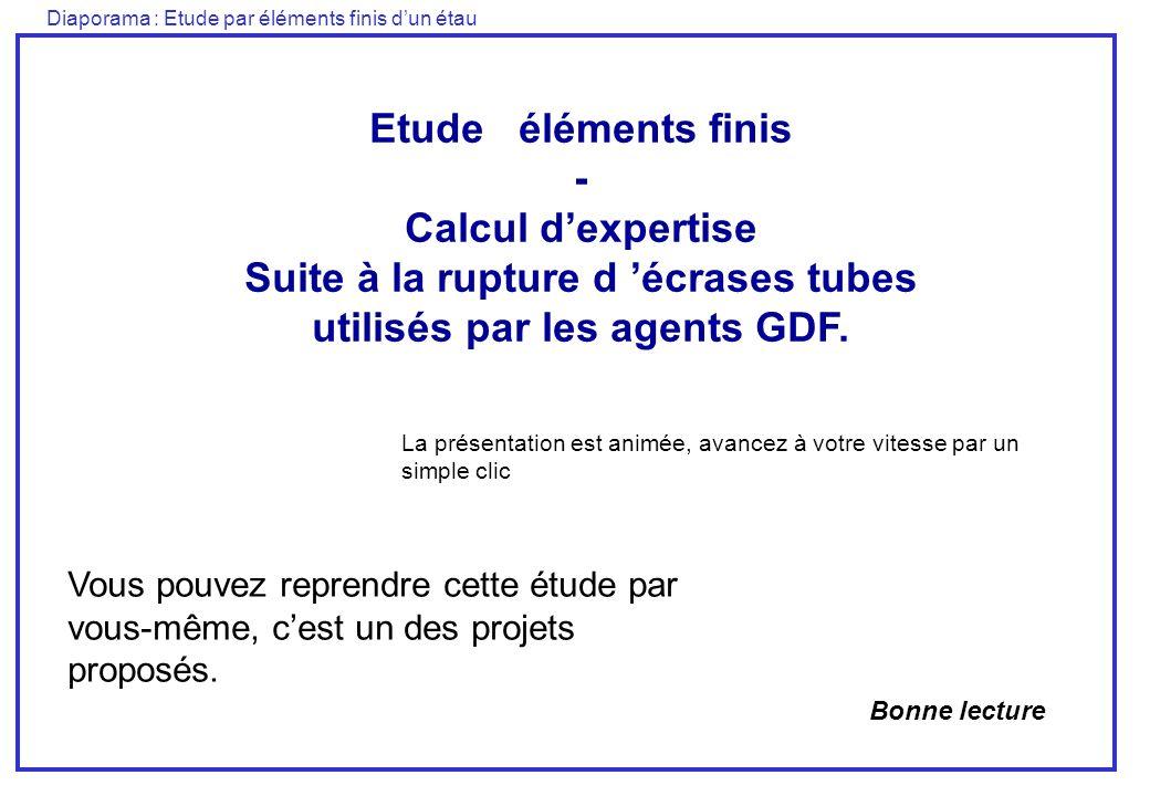 Diaporama : Etude par éléments finis dun étau Etude éléments finis - Calcul dexpertise Suite à la rupture d écrases tubes utilisés par les agents GDF.