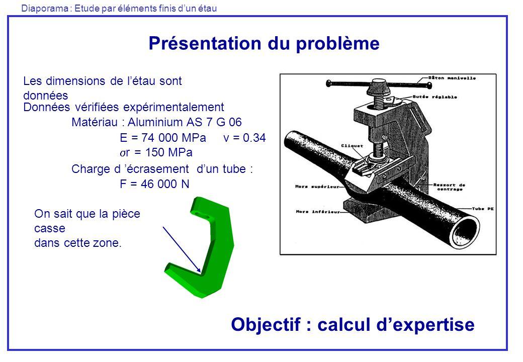 Diaporama : Etude par éléments finis dun étau Présentation du problème Données vérifiées expérimentalement Matériau : Aluminium AS 7 G 06 E = 74 000 M