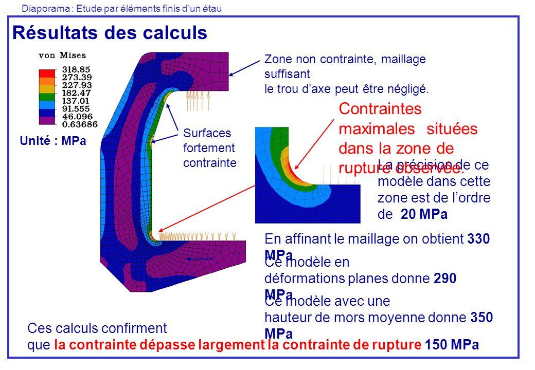 Diaporama : Etude par éléments finis dun étau Résultats des calculs Unité : MPa Ces calculs confirment que la contrainte dépasse largement la contrain