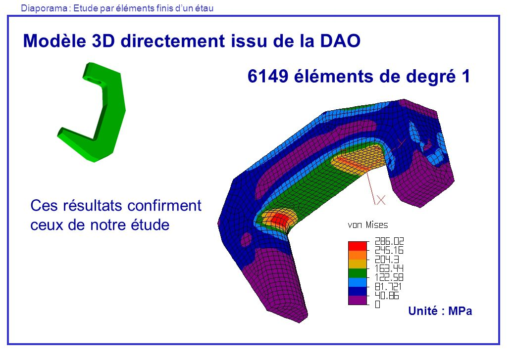 Diaporama : Etude par éléments finis dun étau Modèle 3D directement issu de la DAO 6149 éléments de degré 1 Ces résultats confirment ceux de notre étu