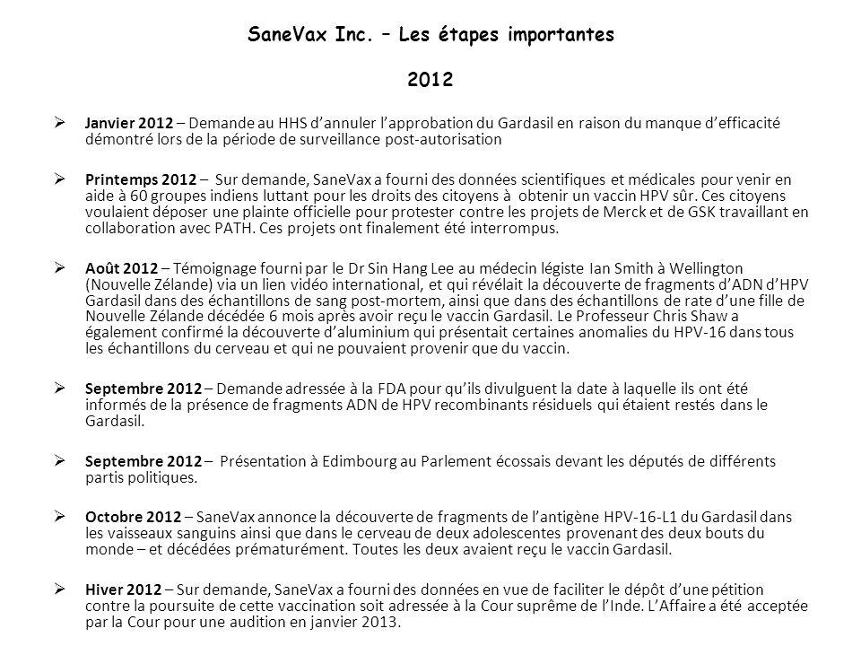 SaneVax Inc. – Les étapes importantes 2012 Janvier 2012 – Demande au HHS dannuler lapprobation du Gardasil en raison du manque defficacité démontré lo