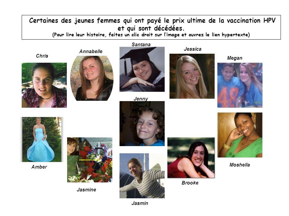 Certaines des jeunes femmes qui ont payé le prix ultime de la vaccination HPV et qui sont décédées. (Pour lire leur histoire, faites un clic droit sur