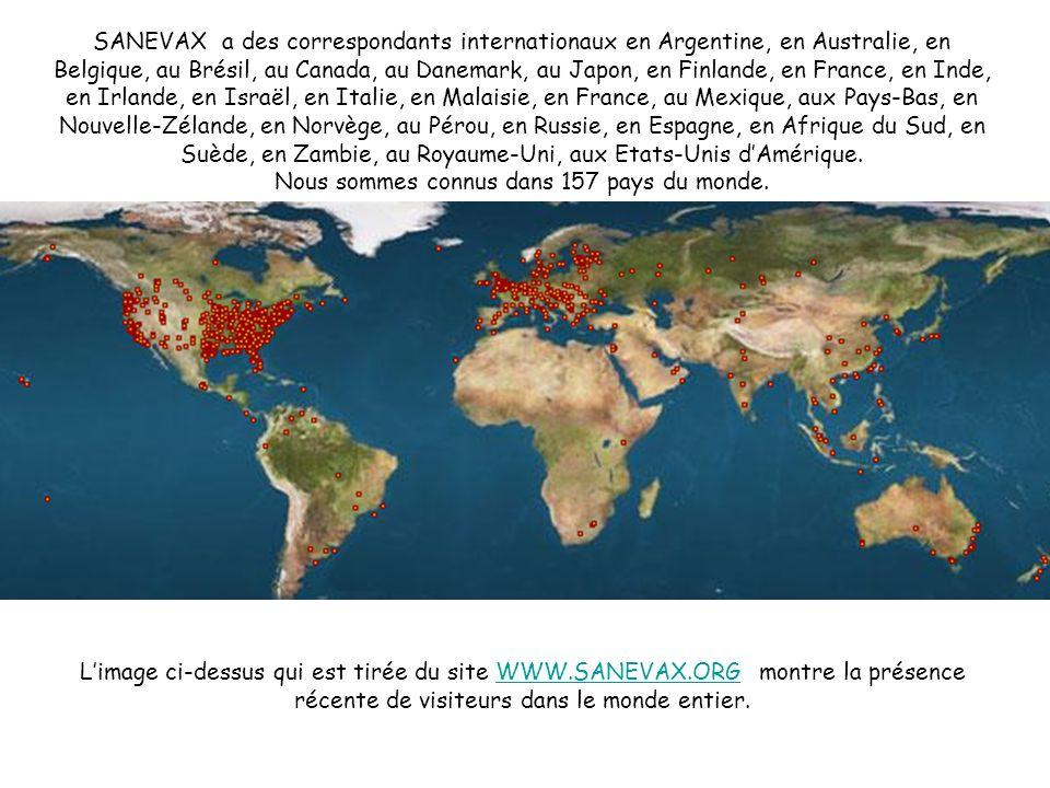 SANEVAX a des correspondants internationaux en Argentine, en Australie, en Belgique, au Brésil, au Canada, au Danemark, au Japon, en Finlande, en Fran