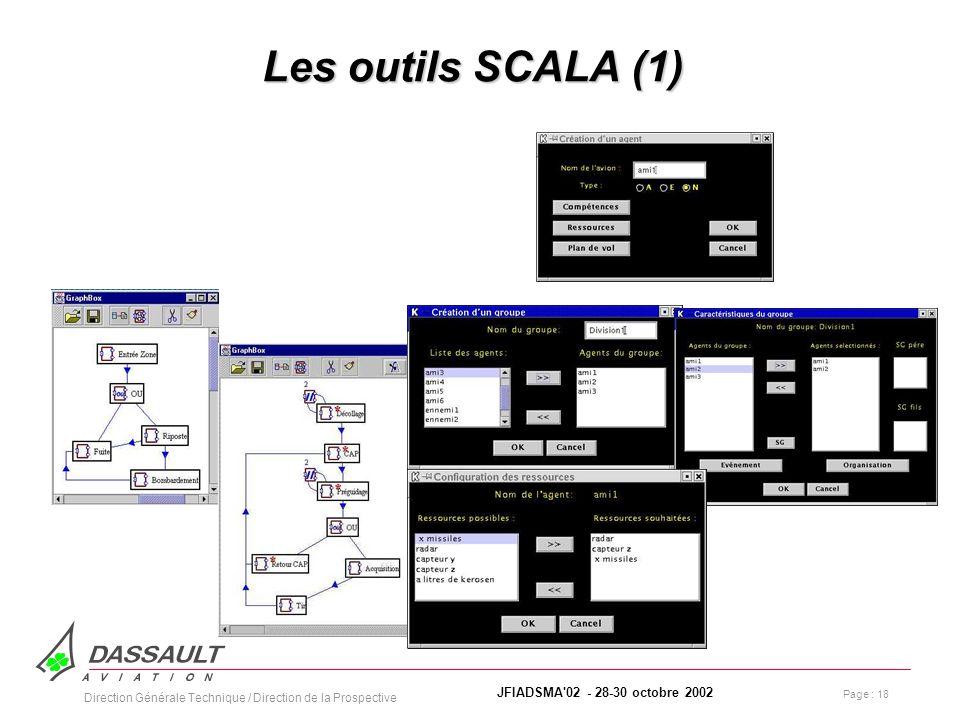 Page : 18 JFIADSMA 02 - 28-30 octobre 2002 Direction Générale Technique / Direction de la Prospective Les outils SCALA (1)