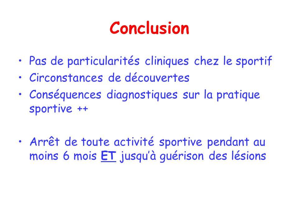 Conclusion Pas de particularités cliniques chez le sportif Circonstances de découvertes Conséquences diagnostiques sur la pratique sportive ++ Arrêt d