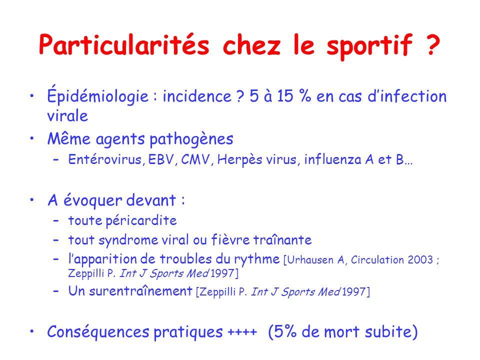 Particularités chez le sportif ? Épidémiologie : incidence ? 5 à 15 % en cas dinfection virale Même agents pathogènes –Entérovirus, EBV, CMV, Herpès v